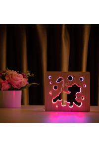 """Светильник ночник из дерева LED """"Веселый львенок"""" с пультом и регулировкой цвета, двойной RGB"""