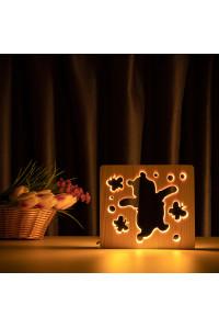 """Светильник ночник из дерева LED """"Веселый медвеженок"""" с пультом и регулировкой света, цвет теплый белый"""