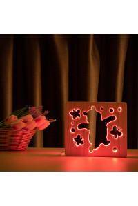 """Светильник ночник из дерева LED """"Веселый медвеженок"""" с пультом и регулировкой цвета, RGB"""