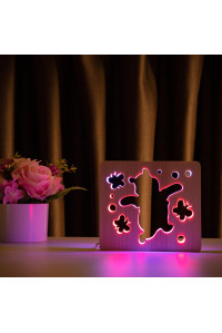 """Светильник ночник из дерева LED """"Веселый медвеженок"""" с пультом и регулировкой цвета, двойной RGB"""