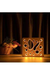 """Светильник ночник из дерева LED """"Бабочка"""" с пультом и регулировкой света, цвет теплый белый"""