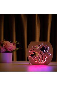 """Светильник ночник из дерева LED """"Аквариум"""" с пультом и регулировкой цвета, двойной RGB"""
