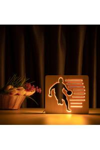 """Светильник ночник из дерева LED """"Баскетболист с мячом"""" с пультом и регулировкой света, цвет теплый белый"""