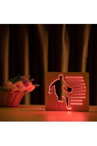 """Светильник ночник из дерева LED """"Баскетболист с мячом"""" с пультом и регулировкой цвета, RGB"""