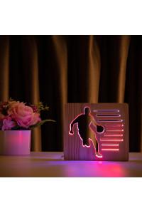 """Светильник ночник из дерева LED """"Баскетболист с мячом"""" с пультом и регулировкой цвета, двойной RGB"""