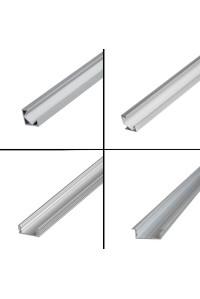 Профиль для светодиодной ленты накладной ПФ-16 полуматовый рассеиватель (комплект) 1 м