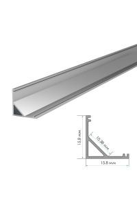Профиль для светодиодной ленты накладной угловой ПФ-9 полуматовый рассеиватель (комплект) 2м