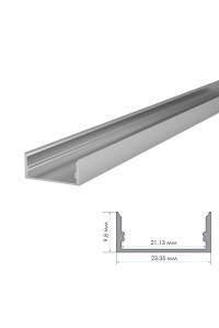 Профиль для светодиодной ленты накладной ПФ-25 полуматовый рассеиватель (комплект) 2м
