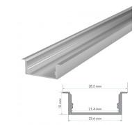 Профиль для светодиодной ленты накладной ПФ-26 полуматовый рассеиватель (комплект) 2м