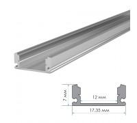Профиль для светодиодной ленты накладной ПФ-15 полуматовый рассеиватель (комплект) 1м