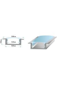 Профиль для светодиодной ленты врезной ПФ-19 рассеиватель (комплект) 2 м