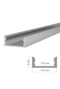 Профиль для светодиодной ленты накладной ПФ-18 без покрытия с полумат.рассеивателем 2 м