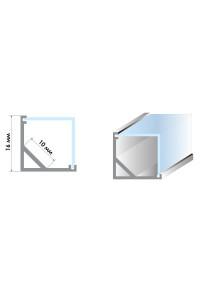 Профиль для светодиодной ленты угловой квадратный ПФ-9 с полуматовым рассеивателем 2 м