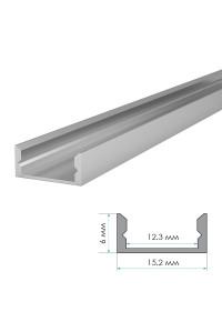 LED профиль ПФ-18/3 не анодированный накладной с  рассеивателем (комплект) 2м